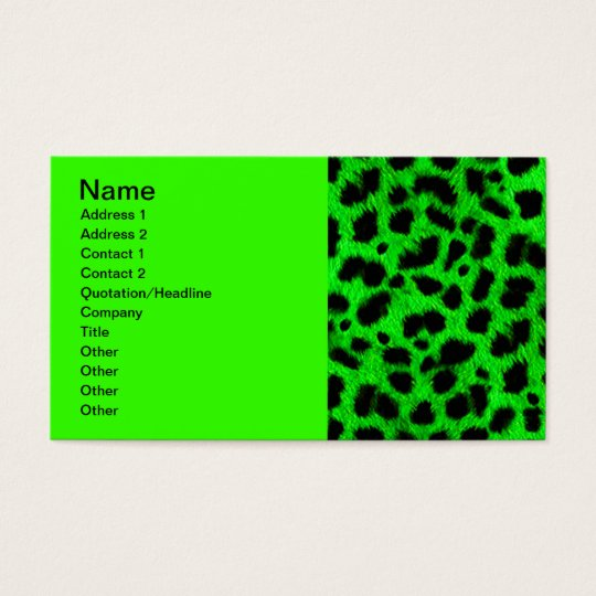 BRIGHT NEON GREEN LIME BLACK ANIMAL PRINT PATTERN BUSINESS CARD