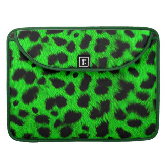 BRIGHT NEON GREEN LIME BLACK ANIMAL PRINT PATTERN SLEEVE FOR MacBooks