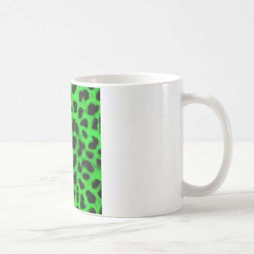 BRIGHT NEON GREEN LIME BLACK ANIMAL PRINT PATTERN CLASSIC WHITE COFFEE MUG