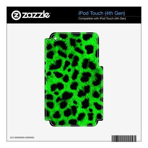 BRIGHT NEON GREEN LIME BLACK ANIMAL PRINT PATTERN iPod TOUCH 4G SKINS