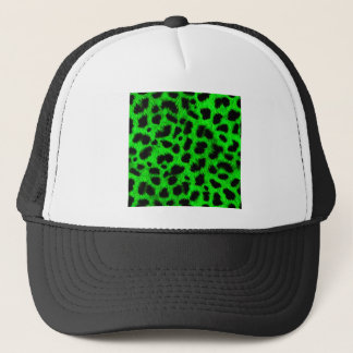 BRIGHT NEON GREEN LIME BLACK ANIMAL PRINT PATTERN TRUCKER HAT