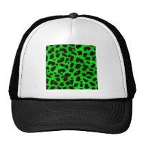 BRIGHT NEON GREEN LIME BLACK ANIMAL PRINT PATTERN TRUCKER HAT