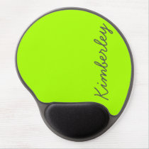 Bright Neon Green Monogram Trendy Fashion Colors Gel Mouse Pad