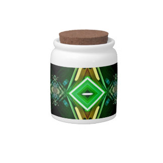 Bright Neon Green Tribal Diamond Pattern Candy Jars