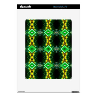 Bright Neon Green Tribal Diamond Pattern Decals For iPad