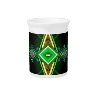 Bright Neon Green Tribal Diamond Pattern Drink Pitcher