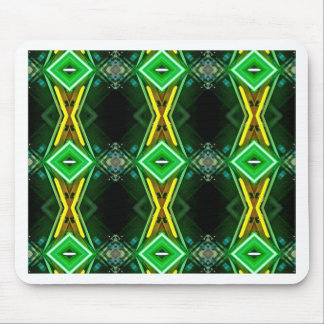 Bright Neon Green Tribal Diamond Pattern Mouse Pad