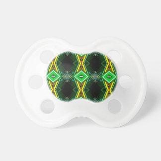 Bright Neon Green Tribal Diamond Pattern Pacifier