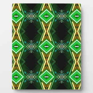 Bright Neon Green Tribal Diamond Pattern Plaque