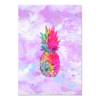 Bright Neon Hawaiian Pineapple Tropical Watercolor 3.5x5 Paper Invitation Card