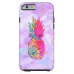 Bright Neon Hawaiian Pineapple Tropical Watercolor Tough iPhone 6 Case