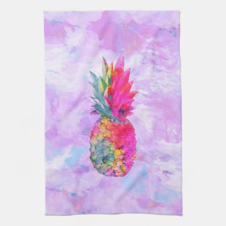 Bright Neon Hawaiian Pineapple Tropical Watercolor Kitchen Towel