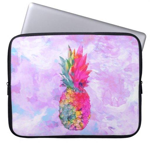 Bright Neon Hawaiian Pineapple Tropical Watercolor Laptop Sleeves