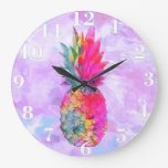 Bright Neon Hawaiian Pineapple Tropical Watercolor Large Clock