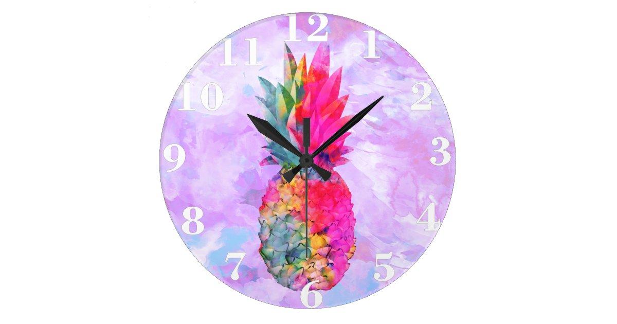 Bright Neon Hawaiian Pineapple Tropical Watercolor Large