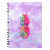 Bright Neon Hawaiian Pineapple Tropical Watercolor Notebook