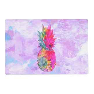 Bright Neon Hawaiian Pineapple Tropical Watercolor Placemat