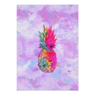 Bright Neon Hawaiian Pineapple Tropical Watercolor Poster