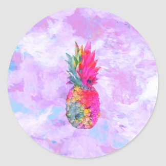 Bright Neon Hawaiian Pineapple Tropical Watercolor Round Stickers