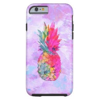 Bright Neon Hawaiian Pineapple Tropical Watercolor Tough iPhone 6 Case
