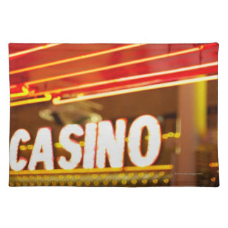 Bright neon lights in front of casino, Las Vegas Cloth Place Mat