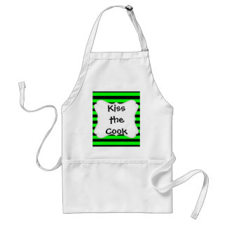 Bright Neon Lime Green and Black Stripes Aprons