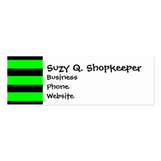 Bright Neon Lime Green and Black Stripes Double-Sided Mini Business Cards (Pack Of 20)