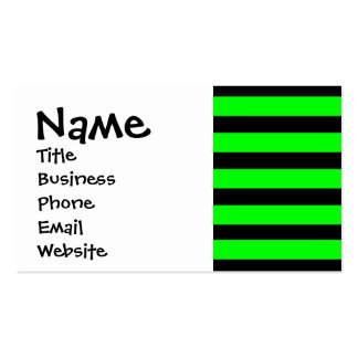 Bright Neon Lime Green and Black Stripes Double-Sided Standard Business Cards (Pack Of 100)