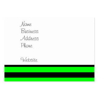 Bright Neon Lime Green and Black Stripes Large Business Cards (Pack Of 100)