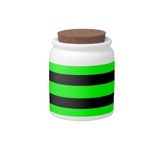Bright Neon Lime Green and Black Stripes Candy Jars