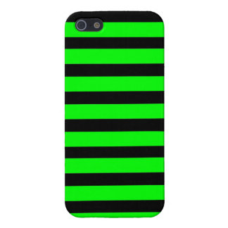 Bright Neon Lime Green and Black Stripes Case For iPhone SE/5/5s