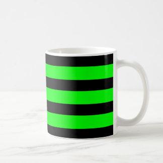Bright Neon Lime Green and Black Stripes Coffee Mug