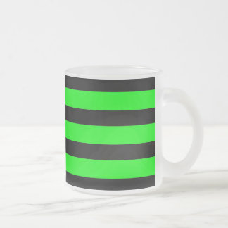 Bright Neon Lime Green and Black Stripes Frosted Glass Coffee Mug