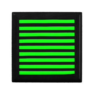 Bright Neon Lime Green and Black Stripes Gift Box