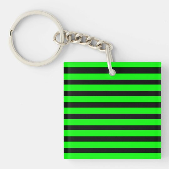 Bright Neon Lime Green and Black Stripes Keychain