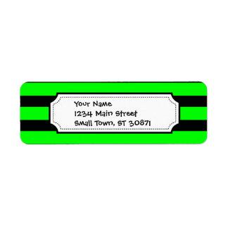 Bright Neon Lime Green and Black Stripes Return Address Label