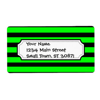 Bright Neon Lime Green and Black Stripes Shipping Label