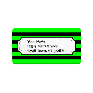 Bright Neon Lime Green and Black Stripes Label