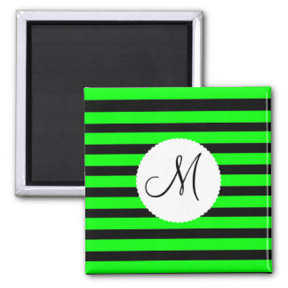 Bright Neon Lime Green and Black Stripes Magnet