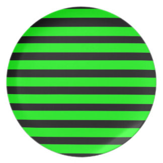 Bright Neon Lime Green and Black Stripes Melamine Plate
