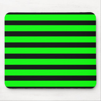 Bright Neon Lime Green and Black Stripes Mousepad