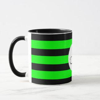 Bright Neon Lime Green and Black Stripes Mug