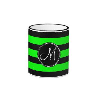 Bright Neon Lime Green and Black Stripes Ringer Mug