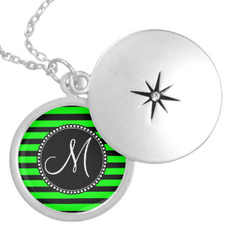 Bright Neon Lime Green and Black Stripes Round Locket Necklace