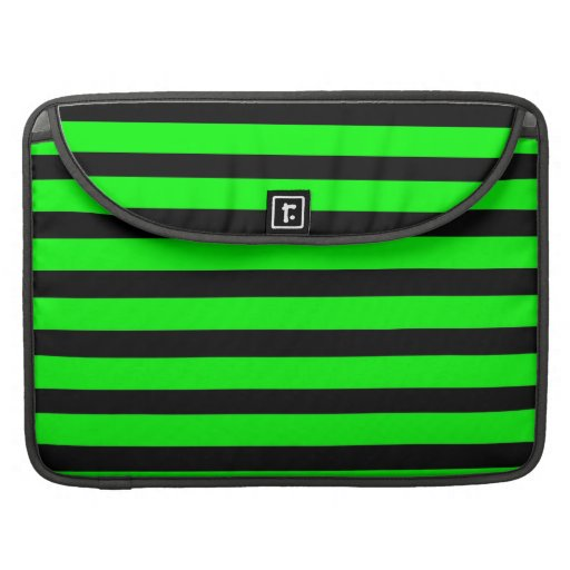 Bright Neon Lime Green and Black Stripes Sleeves For MacBooks