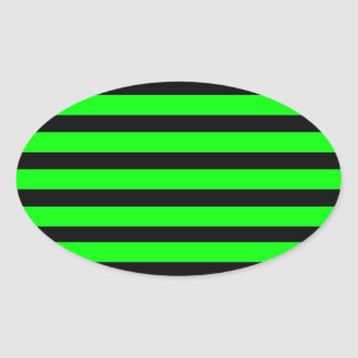 Bright Neon Lime Green and Black Stripes Oval Sticker
