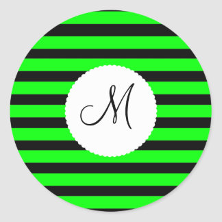 Bright Neon Lime Green and Black Stripes Classic Round Sticker
