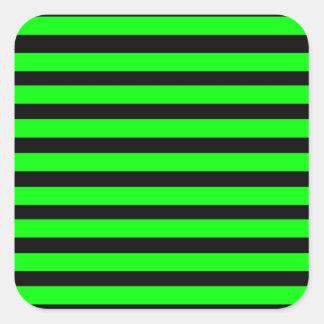 Bright Neon Lime Green and Black Stripes Square Sticker