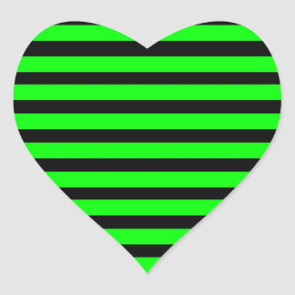 Bright Neon Lime Green and Black Stripes Heart Sticker