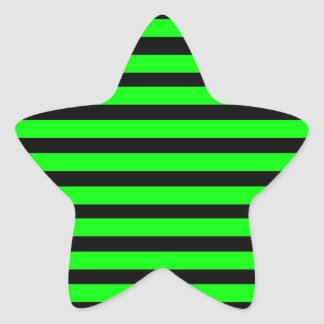 Bright Neon Lime Green and Black Stripes Star Sticker